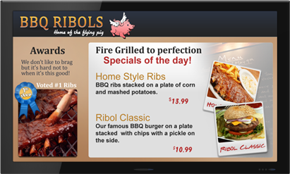 Restaurant Digital Signage Example